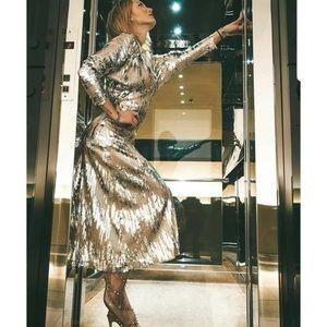NWT Zara Sequin Midi Dress Bloggers Fave Size M